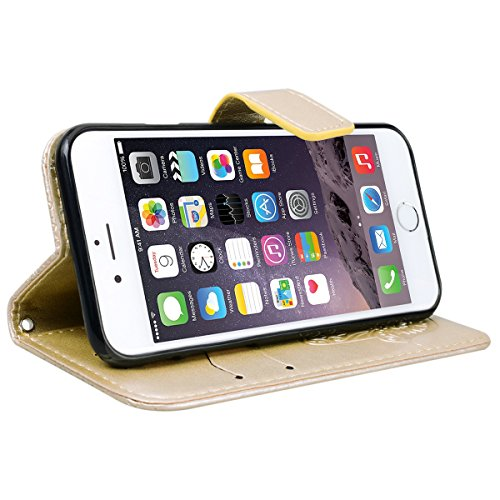 Yokata Cover per iPhone 5S / 5 / SE Premium Leather Palm Goffratura Disegno Custodia in PU Pelle con TPU Cassa Interna e Supporto Funzione Flip Wallet Case Bumper Book Style Stand Caso Protezione Shel Oro