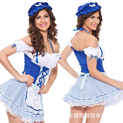 Damen-Reizwäsche Britisches Blaues Und Weißes Mädchen Sexy Plaid Sexy Zimmermädchen, Blau, M Erotik