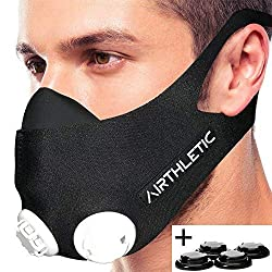 AIRTHLETIC® Respiratory Mask Training Mask with 12 Valve Caps [6 black & 6 white] and head straps for extra hold - German brand