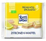 RITTER SPORT Zitronen-Waffel (10 x 100 g), weiße Schokolade mit Waffel und Joghurt-Zitronencreme Füllung,Tafelschokolade, Frühlingssorte