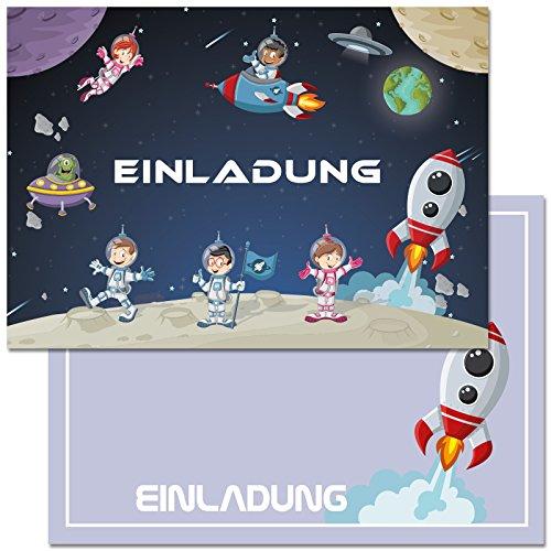 12 Einladungskarten zum Kindergeburtstag mit Motiv Raketen, Weltraum, Raumschiff. Einladungen zum Geburtstag für Jungen und Mädchen (mit Umschlägen)