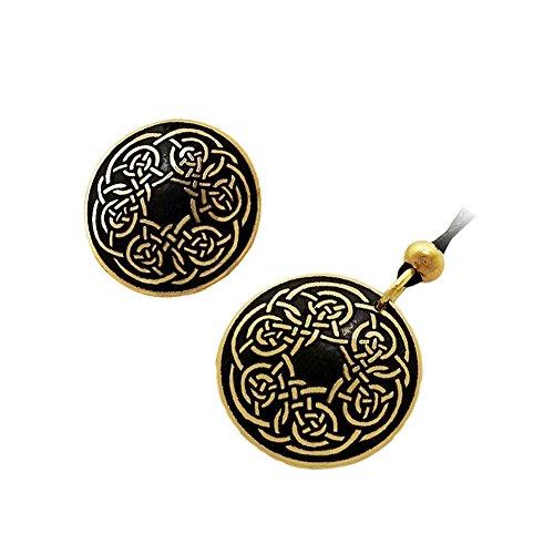 Handcrafted ottone inciso, Celtic Knot, rotondo Spilla Fashion Pendant Necklace Set
