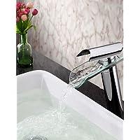 CU@EY rubinetto lavabo bagno in vetro contemporaneo becco singola maniglia rubinetto cascata