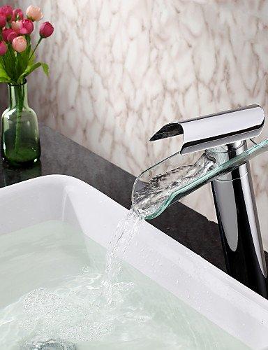 YFF@rubinetto lavabo bagno in vetro contemporaneo becco singola maniglia rubinetto cascata