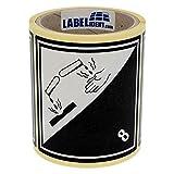 Gefahrgutaufkleber - Klasse 8 - Ätzende Stoffe (8) - 100 x 100 mm - 100 Gefahrgutetiketten, Papier, weiß/schwarz, permanent haftend