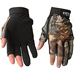 isafish pesca guantes de caza camuflaje color guantes sin dedos transpirable antideslizante impermeable guantes al aire libre guantes de protección contra el sol, Camouflage 02