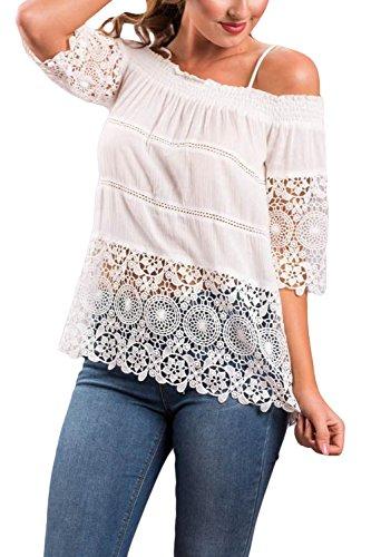 Frauen Elegant Schulter Ab Spitzen Reiner Sommer T - Shirt Blusen. White