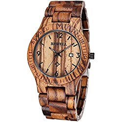 FunkyTop Kaffee Farbe Zebrano Wooden Herrenuhren Quarz Analog Kalenderanzeige Armbanduhr