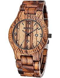 Bewell Color café, Zebrano, Madera, reloj de hombre, de cuarzo, analógico, calendario, reloj de pulsera