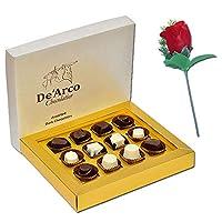 De'Arco Chocolatier Valentines Day Chocolate Gift, Premium Luxury Chocolates, 12pcs + Free Rose