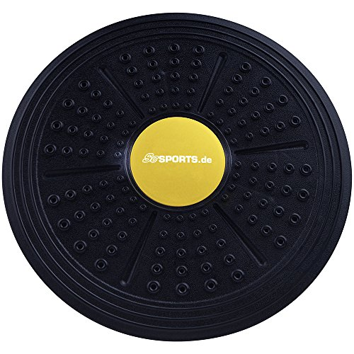 ScSPORTS® Balance-Board als Therapiekreisel für Physiosport, der Wackelbrett Balance-Trainer, Ø 35,5 cm, schwarz/gelb