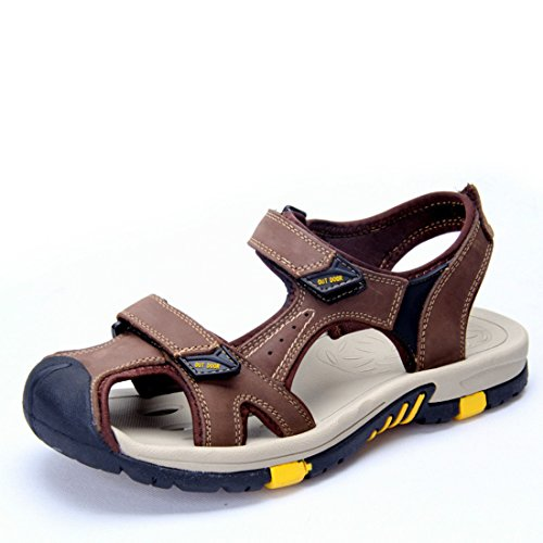 Men's Genuine Leather Breathable Casual Sandals Dark Brown
