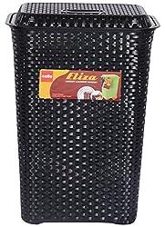 CELLO Eliza Polypropylene Laundry Basket (58 cm x 42 cm x 30 cm, Black)