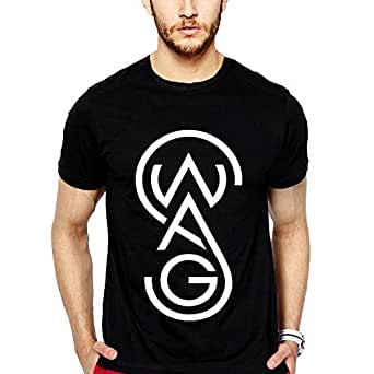 iLyk Men's Swag Printed T-Shirt (10605_Black_Small)