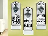 1 x Wand-Flaschenöffner MDF Metallöffner, Kronkorkensammler weiß/schwarz Höhe 30 cm, Wanddeko (Oh! Schon Bier Uhr!)