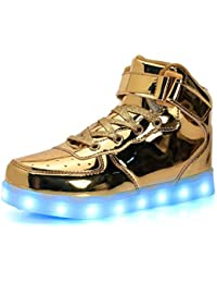 90939e6ac8f6 LJ Sport Unisex LED Shoes Kids Boys Girls High Top Light Up Shoes USB  Charging Flashing LED Sneakers 7 Colors Modes for Men and…
