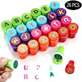 Aiskki 26 Stück Stempelset Alphabete, Kinderstempel, Stempel Kinder Set, Selbstfärbend für Kinder