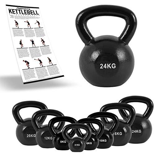 MSPORTS Kettlebell Professional Iron 2 - 30 kg inkl. Übungsposter Kugelhantel (24 kg)