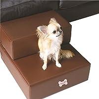 Escalera de piel sintética para mascotas, perros, gatos, escaleras, para perros pequeños, plegable, alfombrilla de cojín para cama con funda desmontable, producto para mascotas