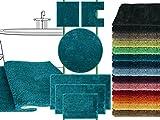 Mikrofaser Badteppich - klassisch + modern + universell einsetzbar - erhältlich in 13 modernen Farben und 6 verschiedenen Größen - die extra Streicheleinheit für Ihre Füße in geprüfter Markenqualität, petrol, 50 x 45 cm mit Ausschnitt