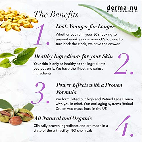 Retinol Serum 2,5% mit Hyaluronsäure Serum & Vitamin E von Derma-nu – beste Antialterung Serum für feine Linien und Fältchen – klinisch bewährte Haut Behandlung für das Gesicht – Garantiert 100% – 1,25oz Flasche - 2