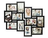 Fotocollage Bilderrahmen mit Glasscheiben für 12 Fotos Schwarz- Fotogalerie Fotorahmen