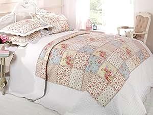 2 Couvre-lit rose/motif patchwork pour lit 1 personne 190 x 240 taies d'cMS oreiller par parure de table matelassé