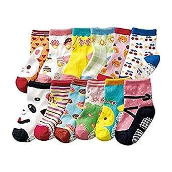 Bebedou Baby Girl socks pink green 12 Pairs Baby Infants Toddler Socks Fun design Colored Socks Anti-skid Cotton Baby gifts Baby shower (pink green)