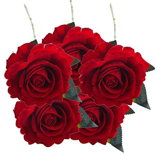 Sunday Wohnaccessoires & Deko Kunstblumen Künstliche 5 Stück künstliche Fake Rosen Flanell Blume Bridal Bouquet Hochzeit Pink Rot Weiß (G)