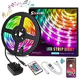 Ruban LED Bleutooth, SOLMORE Bande LED 5M 5050 RGB 150 LEDs, Contrôlé par APP du Smartphone, Synchroniser avec Rythme de Musique, avec Récepteur Bluetooth/Télécommande IR/ 12V 2A (non étanche)