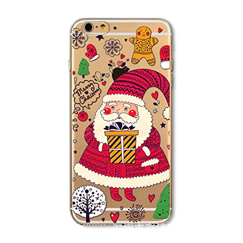 Weihnachten Hülle für iPhone 6 Plus / iPhone 6s Plus MOONMINI Ultra Dünn Weihnachten Dekoration Weiche TPU Silikon Full Body Schutz Rückseite Transparent Schutzhülle Shell für iPhone 6 Plus / iPhone 6 Santa Claus and Gift