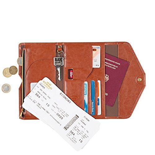 Passporte Portefeuille RFID Blocage, organisateur de voyage qui protége du fraude d'identité pour carte d'identité, passeporte, cartes de crédit