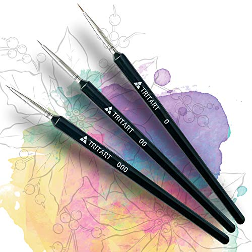Tritart Pinselset fein - Pinsel für Aquarell Acryl und Öl (3-er Set) - Dünnen Eyeliner-pinsel