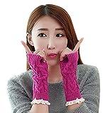 TININNA Winter Warm Gestrickte Spitze Langen Handschuhe Armstulpen Pulswärmer Handstulpen Armwärmer für Damen Mädchen hot Pink