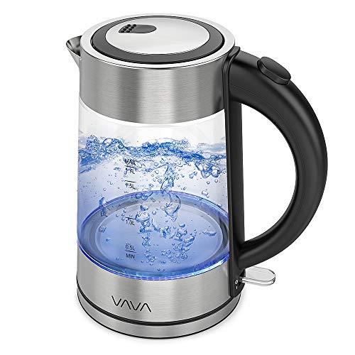VAVA Elektrischer Glas-Wasserkocher, 1,7 l, schnelles Aufheizen, blaues Licht, mit Einem Knopf, Filter aus Edelstahl, ohne BPA und sichere Bedienung, Rille in der Basis für praktische Aufbewahrung