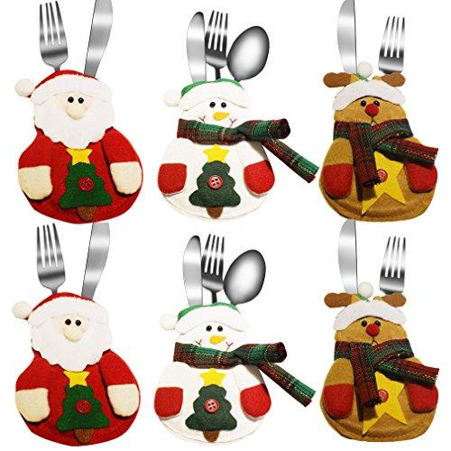 Aiyue® 6pcs porta posate natalizi da tavolo forma babbo natale pupazzo di neve alce porta coltelli sacchetti forchette decorazione per cena casa ristorante sala da pranzo