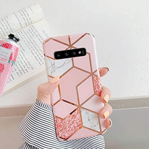 Herbests Kompatibel mit Samsung Galaxy S10e Marmor Hülle Weich Silikon Handyhülle Bling Glitter Sparkle Glänzend Bunt Schutzhülle Crystal Clear Ultradünn Tasche Rückschale Case,Rose Gold