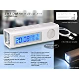 House of Gifts 3 in 1 Clock with FM and Torch with Dual Power Option (with USB Wire)