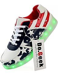 DoGeek Unisex 7 Colors USB Carga Luz Luminosas Flash LED Zapatos Zapatillas de Deporte Para Hombres Mujeres Blanco (Elegir 1 tamaño más grande)