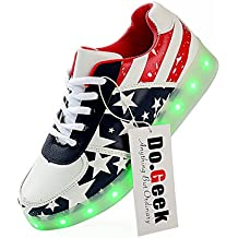 DoGeek 7 Colors USB Carga LED Luminosas Zapatos Led Zapatillas de Deporte Para Hombres Mujeres (Elegir 1 tamaño más grande)