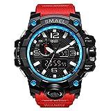 Analógico Digital Reloj Militar Reloj Deportivo para Hombre Doble Esfera Business Casual multifunción electrónico muñeca Relojes Resistente al Reloj de Pulsera (Rojo)