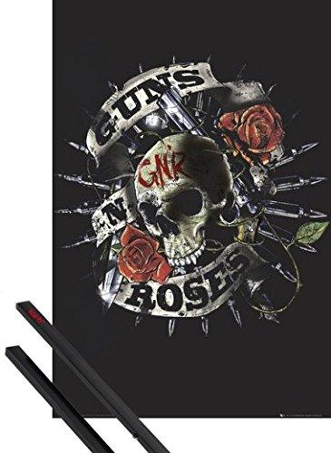 Poster + Sospensione : Guns N' Roses Poster Stampa (91x61 cm) Firepower, Logo Teschio E Coppia Di Barre Porta Poster Nere 1art1®