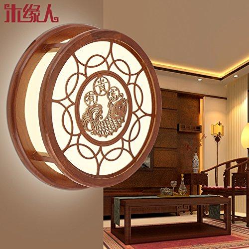 zhzhco nuovo muro anello cinese lampade da parete Solid Pelle intagliato lampade creativi Mode proiettore lampada da comodino camera da letto corridoio marce balcone circolare diametro 345mm mm di spessore 90mm