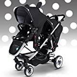Multi-function Baby Stroller for Twins, Twins Stroller, Double Stroller & Single Stroller Convertible, Before & After 2 Seats Pushchair (A) immagine