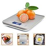 Balance de cuisine numérique en acier inoxydable ikalula avec affichage LCD et fonction tare haute précision jusqu'à 1 g (5 kg de poids maximum) Balance de cuisine professionnelle (batterie incluse)