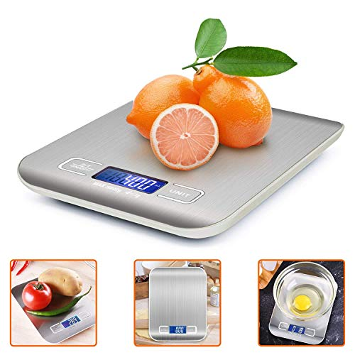 Bilancia da Cucina Digitale, si adatta perfettamente alla vostra cucina. 4 Sensori ad alta precisione: La bilancia elettrica in acciaio ha una Precisione nel peso da 1 g a max. 5 kg. Fornisce la misura del peso più precisa per misurare ingredienti, g...