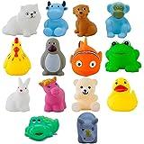 Magnifico™ : Squeeze Chu Chu Sound Soft Non-Toxic Toddler Baby Bath Toys- Animal Shape (14 Pc Chu Chu)
