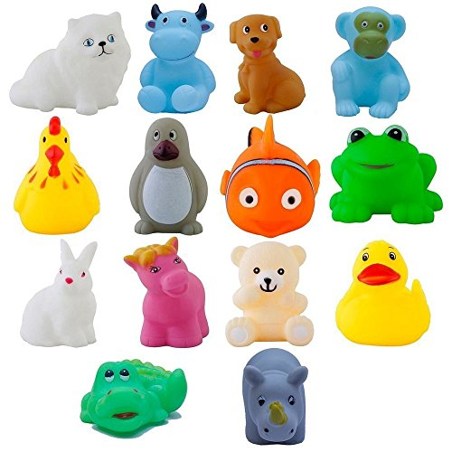 Magnifico™ : Squeeze Chu Chu Sound Soft Non-Toxic Toddler Baby Bath Toys- Animal Shape (14 Pc Chu Chu)