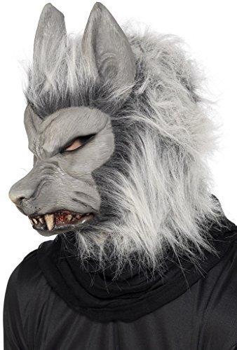 Werwolf Voller Kopf Maske Halloween Kostüm Verkleidung Zubehör Silbergrau (Masken Für Halloween Beängstigend Billig)