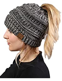 Alexvyan Ponytail Warm Women Stretch Knitted Crochet Winter Cap for Women Girl Female Cap Grey